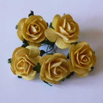 5 Stk. Rosen open roses golden yellow 25 mm
