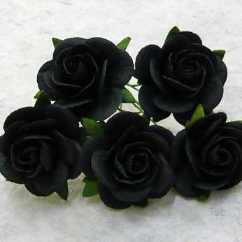 5 Stk. Rosen open roses jet black 25 mm
