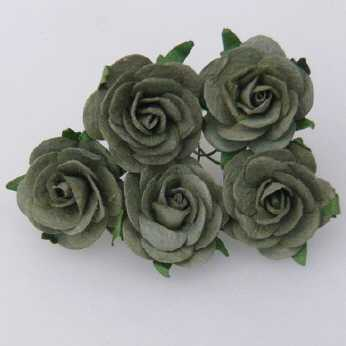 5 Stk. Rosen open roses olive green 25 mm