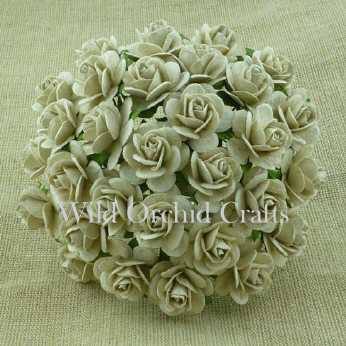 10 Stk. Rosen open roses dove grey 20 mm