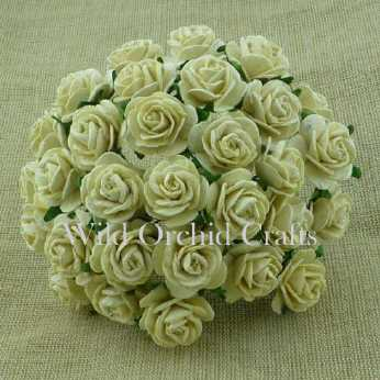 10 Stk. Rosen open roses deep ivory 15 mm