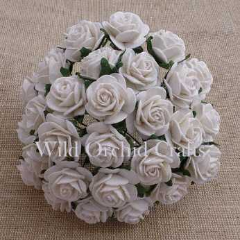 10 Stk. Rosen open roses white 20 mm