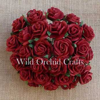 10 Stk. Rosen open roses deep red 15 mm