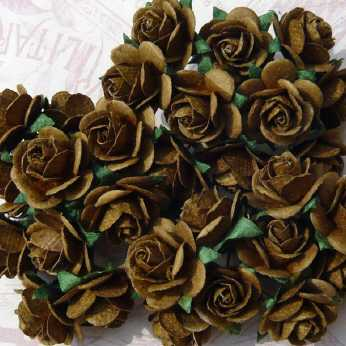 5 Stk. Rosen open roses sepia brown 20 mm