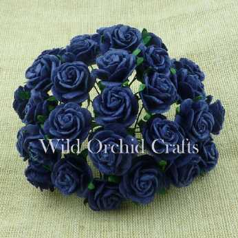 10 Stk. Rosen open roses navy blue 15 mm