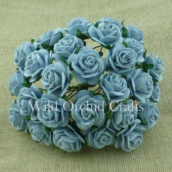 10 Stk. Rosen open roses baby blue 15 mm