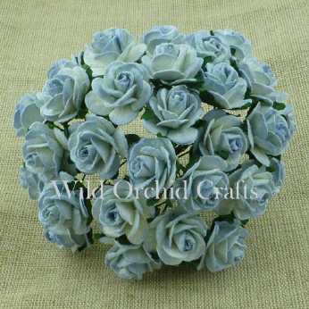 10 Stk. Rosen open roses antique blue 15 mm