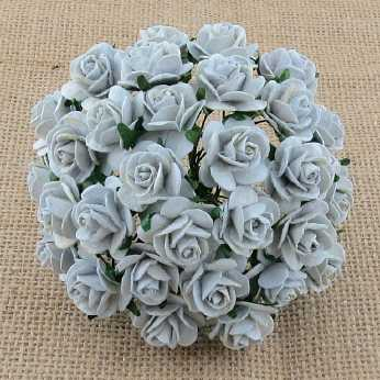 10 Stk. Rosen open roses silver grey 20 mm