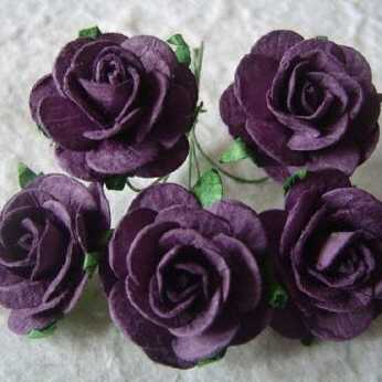 5 Stk. Rosen open roses purple 25 mm