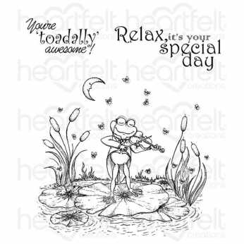 Heartfelt Creations Cling Stamps Fiddle´n Frog