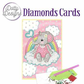 Diamond Cards Pink Baby Elephant