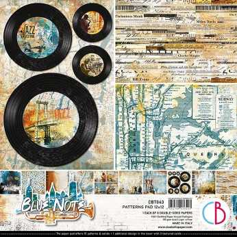 Ciao Bella Patterns Pad Blue Note 12x12""