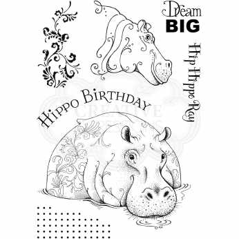 Pink Ink Designs Clearstamps Hippo Birthday